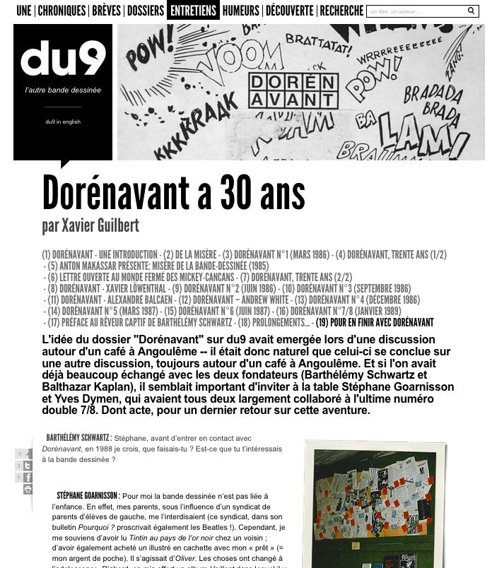 Du9 : Pour en finir avec Dorénavant, entretien de Xavier Guilbert avec Balthazar Kaplan, Yves Dymen, Stéphane Goarnisson, eve Mairot et Barthélémy Schwartz